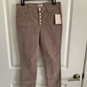 Free people ankle length button fly corduroy